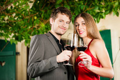 Winetasting in restaurant Royalty Free Stock Image