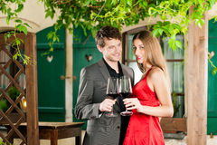 Winetasting in restaurant Royalty Free Stock Images