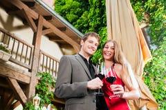Winetasting in restaurant Stock Images