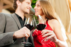 Winetasting in restaurant Royalty Free Stock Image