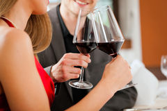Winetasting in restaurant Stock Image