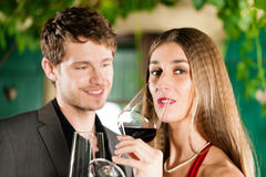 Winetasting in restaurant Stock Photos