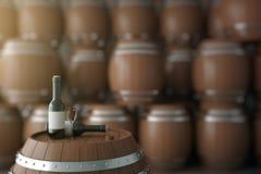 Winetrumma och flaskor Royaltyfri Fotografi