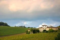 Wineyard avec la vieille ferme dans le chianti, Toscane photographie stock
