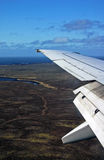 Wing. And icelandic landscape with blue sky royalty free stock images