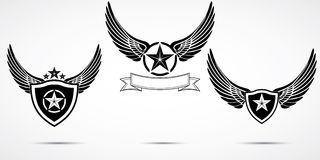 Wing abstract emblem set, logo template, badge label, icon, tattoo design.  Royalty Free Stock Images