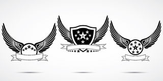 Wing abstract emblem set, logo template, badge label, icon, tattoo design.  Stock Image