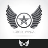 Wing abstract Logo template with star in the middle badge label,  emblem icon Royalty Free Stock Photos