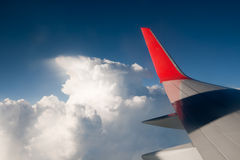 Wing aircraft against the blue sky and clouds Royalty Free Stock Photos