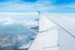 Wing aircraft in altitude Royalty Free Stock Photography