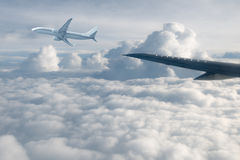 Wing aircraft in altitude. During flight royalty free stock image