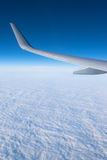 Wing aircraft in altitude during flight Stock Images