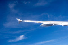 Wing of aircraft in blue sky Stock Photography