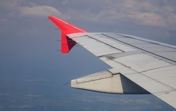 Wing of aircraft in the sky Stock Image