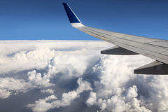 Wing aircraft over clouds. Stock Photography