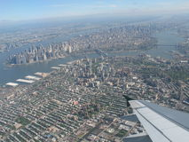 Wing aircraft over New York Stock Images