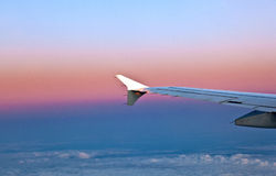 Wing of aircraft in the sky Stock Photography