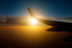 Wing aircraft at sunset Stock Images