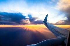 Wing aircraft at sunset. Stock Photography