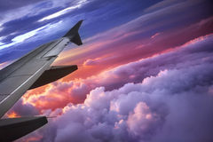 Wing of an airplane Royalty Free Stock Images