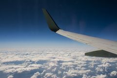 Wing of an airplane stock photos