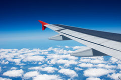 Wing of the airplane Stock Photography