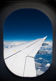 Wing of airplane Stock Photos