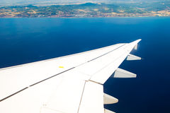Wing of airplane Royalty Free Stock Photo