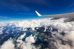Wing of an airplane. A wing of an airplane Royalty Free Stock Photo