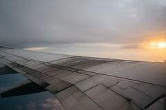 Wing of airplane Royalty Free Stock Photography