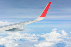 Wing of airplane Stock Photography