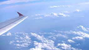 Wing airplane and cloud in the sky royalty free stock images