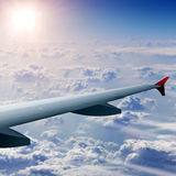 Wing of airplane in flight Royalty Free Stock Photo
