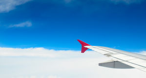 Wing of an airplane Stock Photo