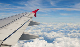 Wing of an airplane Royalty Free Stock Photos
