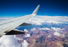 Wing of an airplane. Over the Grand Canyon, USA Royalty Free Stock Photography