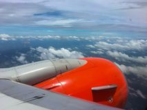 Wing of an airplane. picture for add text message or frame website. Traveling concept. Stock Images