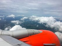 Wing of an airplane. picture for add text message or frame website. Traveling concept. Royalty Free Stock Images