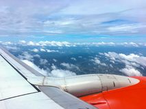 Wing of an airplane. picture for add text message or frame website. Traveling concept. Royalty Free Stock Photography