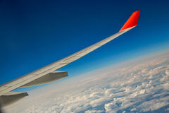 The wing of an airplane Royalty Free Stock Photo