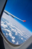 The wing of an airplane Royalty Free Stock Images