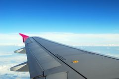 The wing of airplane in the sky Royalty Free Stock Photography