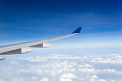Wing of airplane  in the sky Royalty Free Stock Photo
