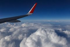 Wing of airplane in the sky. Wing of airplane flying above the clouds in the blue sky Royalty Free Stock Photography