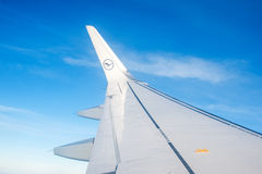 Wing of airplane from window royalty free stock photography