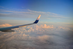 Wing of airplane from window Royalty Free Stock Images