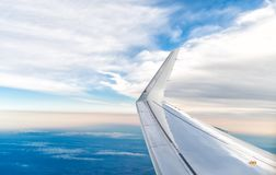 Wing of an airplane. Royalty Free Stock Photography