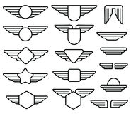 Wing army emblems, aviation badges, pilot labels line vector set Royalty Free Stock Image
