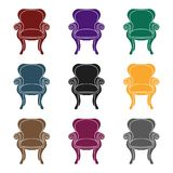 Wing-back chair icon in black style isolated on white background. Furniture and home interior symbol stock vector Royalty Free Stock Photography