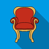 Wing-back chair icon in flat style  on white background. Furniture and home interior symbol stock vector Royalty Free Stock Photos